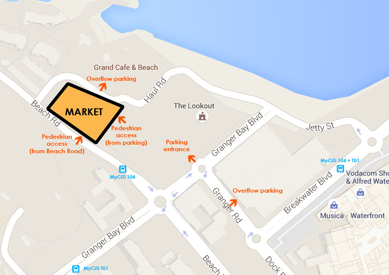 Map of market at Granger Bay